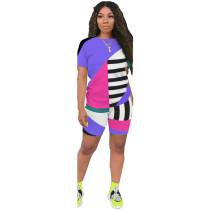 Plus Size Geometric Striped Casual Two Piece Shorts Set ASL-6263-1