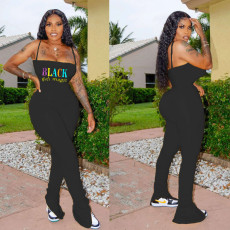 Plus Size Letter Print Spaghetti Strap Stacked Jumpsuits SHD-9251