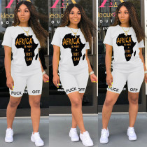Casual Letter Print T Shirt Shorts Two Piece Suits FSL-089