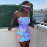 Tie Dye Letter Print Spaghetti Strap Mini Dress LM-8150