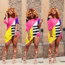 Plus Size Oblique Shoulder Cute Casual Multicolor Dress MTY-6306