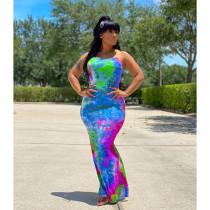 Tie Dye Print Backless Cross Strap Maxi Dress LQ-5832