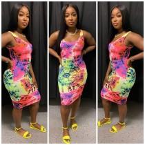 Casual Sleeveless Tie Dye Print Dress YM-9208