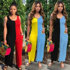 Plus Size Contrast Color Patchwork Wide Leg Jumpsuits AWN-5091
