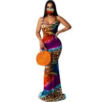 Tie Dye Print Sleeveless Slim Mermaid Maxi Dress SFY-126