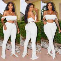 Solid Crop Top Split Stacked Pants Sexy 2 Piece Sets YIM-8095