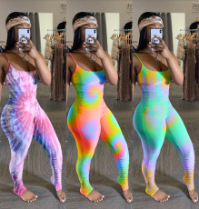 Tie Dye Print Stacked Skinny One Piece Jumpsuits WSM-5143