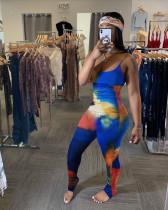 Tie Dye Print Sleeeveless Strap Skinny Jumpsuits YN-1002