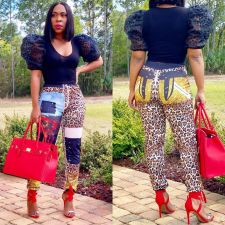 Leopard Print Casual Long Pencil Pants CQ-007