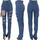 Plus Size Denim Ripped Hole Splt Long Jeans Pants CQ-010