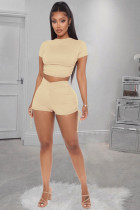 Solid Backless Sexy Two Piece Shorts Set WZ-8271
