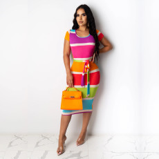 Colorful Stripe Short Sleeve Sashes Midi Dress TE-4027
