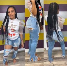 Denim Ripped Hole Skinny Long Jeans Pants OD-8362