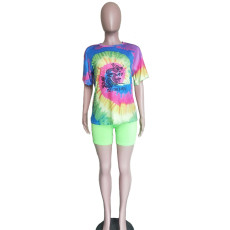 Tie Dye Print Casual Two Piece Shorts Set BN-9233