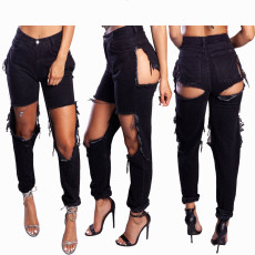 Denim Ripped Hole Black Long Jeans Pants BN-9235