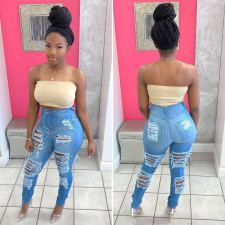 Denim High Waist Ripped Hole Skinny Jeans Pencil Pants OD-8358
