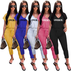 Letter Print V Neck T Shirt Ankle Lengtjh Pants Sets MEM-8280
