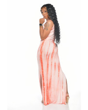Plus Size Printed Split Sleeveless Maxi Slip Dress DAI-8235
