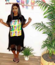 Fashion Short Sleeve Round Neck Printed Stitching Midi Dress ORY-5156