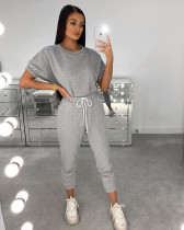 Plus Size Solid Short Sleeve Two Piece Pants Set DAI-8236