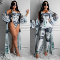 Plus Size Printed 3 Piece Sets Bosysuit+Long Cardigan+Pants CHY-1229
