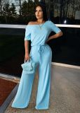 Solid Short Sleeeve Casual One Piece Jumpsuits WAF-5021