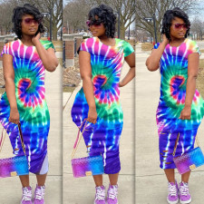 Plus Size Tie Dye Print Short Sleeve Maxi Dress DAI-8238