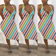 Plus Size Colorful Stripe Sleeveless Midi Dress BLI-2060