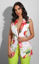 Floral Print Notched Neck Sleeveless Blazer Coat BS-1194