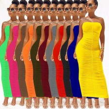 Plus Size Ruched Strapless Bodycon Maxi Dress IV-8090