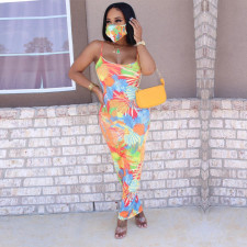 Plus Size Tie Dye Print Sleeveless Long Slip Dress SH-3779