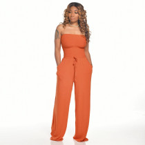 Solid Strapless Tube Top Wide Leg Jumpsuits ZSD-0285