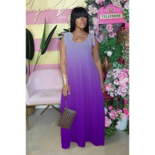 Plus Size Gradient Strappy Sleeleveless Maxi Dress CQ-018