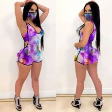 Tie Dye Sleeveless One Piece Rompers With Mask TEN-3420