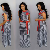 Casual Striped Sleeveless Sashes Long Dress HMS-5322