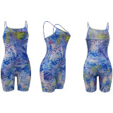 Sexy Printed Strap One Piece Romper With Mask AL-192