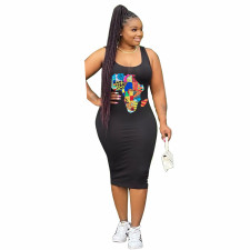 Plus Size Printed Sleeveless Midi Tank Dress YNB-7096