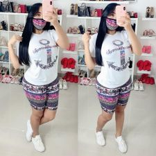 Casual Printed Two Piece Shorts Set With Mask YIM-8116
