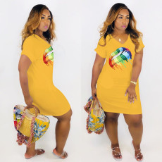 Plus Size Cute Sexy V-neck Lips Midi Dress MTY-6195