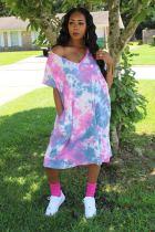 Plus Size Tie Dye Print V Neck Loose Midi Dress CQ-020