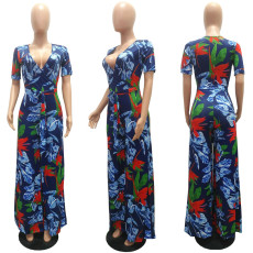 Floral Print V Neck Sashes Wide Leg Jumpsuits MAE-2039