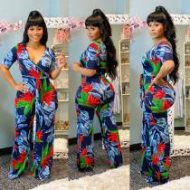 Floral Print V Neck Sashes Wide Leg Jumpsuits MAE-2039