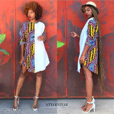 Plus Size Africa Printed Patchwork Shirt Dress PIN-8500