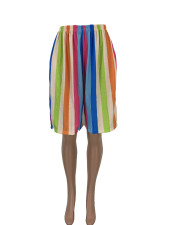 Plus Size Rainbow Stripe Knee Length Wide Leg Shorts LQ-5842