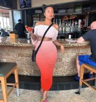 Plus Size Gradient Off Shoulder Ruched Long Skirt Sets LQ-5843