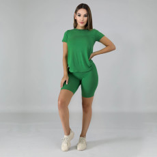 Plus Size Simple Casual Solid Color Two Piece Set TE-3998-2