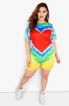Plus Size Tie Dye O Neck Two Piece Shorts Set LX-2070