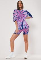 Plus Size Tie Dye T Shirt Shorts Two Piece Sets LX-2071