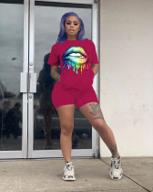 Lips Print T Shirt Shorts Two Piece Outfits WZ-8278