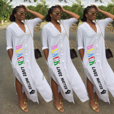 Plus Size White Letter Pint Split Maxi Dress MIL-124